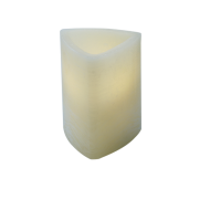 Ivory Pillar Wax Candle Triangle 5""