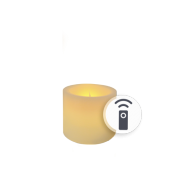 Ivory Battery LED Wax Pillar Candles With Timer 3""