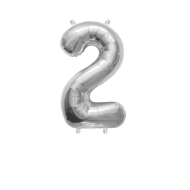 """Number Balloon 2 Silver 14"""""""