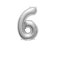 """Number Balloon 6 Silver 14"""""""