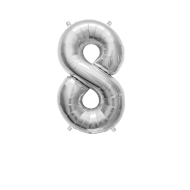"""Number Balloon 8 Silver 14"""""""