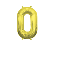 """Number Balloon 0 Gold 14"""""""