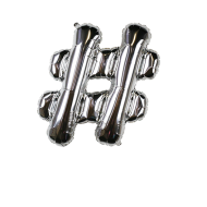 Letter Balloon Hashtag Silver 14""