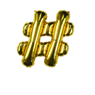 Letter Balloon Hashtag Gold 14""