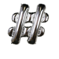 Letter Balloon Hashtag Silver 36""