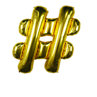 Letter Balloon Hashtag Gold 36""